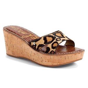 Sam Edelman | Reid Calf Hair Leopard Wedge Sandals